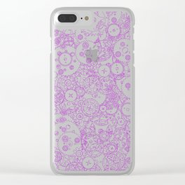 Clockwork PURPLE DREAM / Cogs and clockwork parts lineart pattern Clear iPhone Case