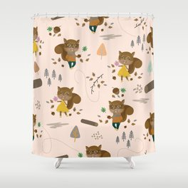 Mr and Mrs Squirrel Apricot Background Shower Curtain