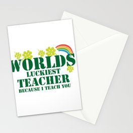 Teacher St Patricks Day Luckiest Teacher Stationery Cards
