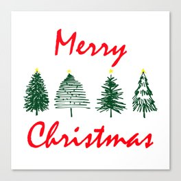 Merry Christmas Typography with Hand Drawn Christmas Tree Minimal Art Canvas Print