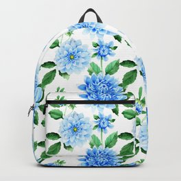 Hand painted sky blue green watercolor modern dahlia floral Backpack