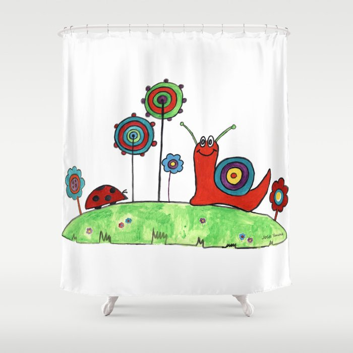 Summer Joy - Abstract Snail and Flowers Shower Curtain
