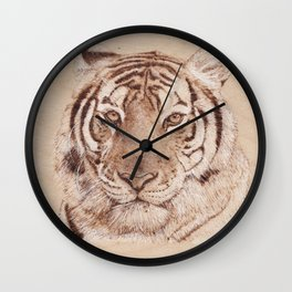 Bengal Tiger Portrait - Drawing by Burning on Wood - Pyrography art Wall Clock