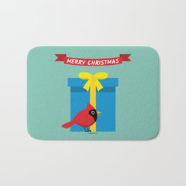 Cute Red Cardinal With Blue Gift - MERRY CHRISTMAS Bath Mat