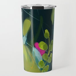 abstract jungle fever leaves in floral green Travel Mug