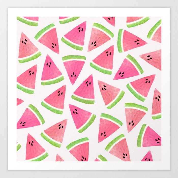 Watermelon Watercolor Pattern Art Print