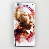 hitchcock iPhone & iPod Skins featuring ALFRED HITCHCOCK by Elizabeth Cakovan