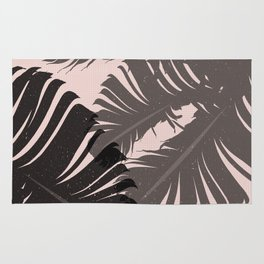 Tropical Leaf Silhouette in Pink Palette Rug