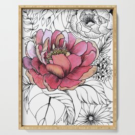 Painted Peony Garden Serving Tray