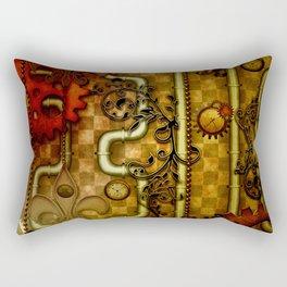 Noble Steampunk design, clocks and gears Rectangular Pillow