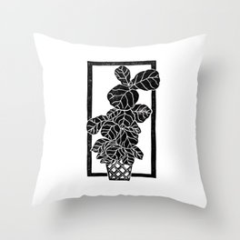Fiddle Leaf Fig Block Print Throw Pillow