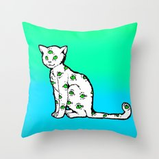 SCAREDY CAT (Cool Colors) Throw Pillow