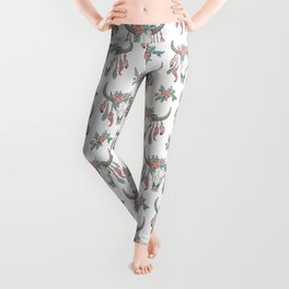Boho Longhorn Cow Skull with Feathers and Peach Flowers Leggings