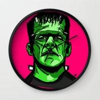 frankenstein Wall Clocks featuring Frankenstein  by Bleachydrew