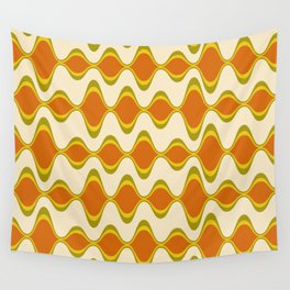 Retro Psychedelic Wavy Pattern in Orange, Yellow, Olive Wall Tapestry