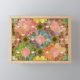 Marrakech Flowers olive & rose Framed Mini Art Print