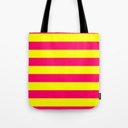 Bright Neon Pink and Yellow Horizontal Cabana Tent Stripes Tote Bag