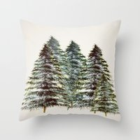 craftberrybush Throw Pillows featuring Evergreen Tree Tapestry by craftberrybush