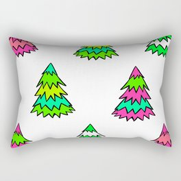 Pink Green White Christmas Trees Rectangular Pillow