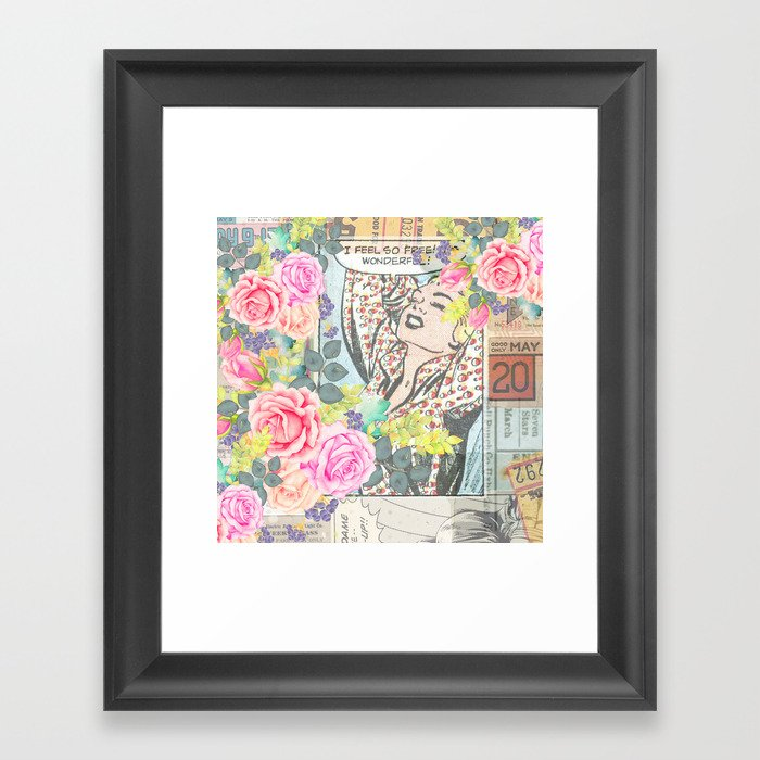 Vintage pink roses retro colorful collage pinup girl Gerahmter Kunstdruck