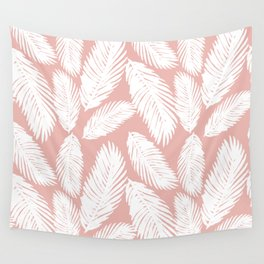 White Tropical Palm Tree Fern Leaf on Rose Gold Pattern Wall Tapestry