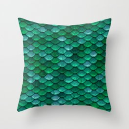 Green Penny Scales Throw Pillow