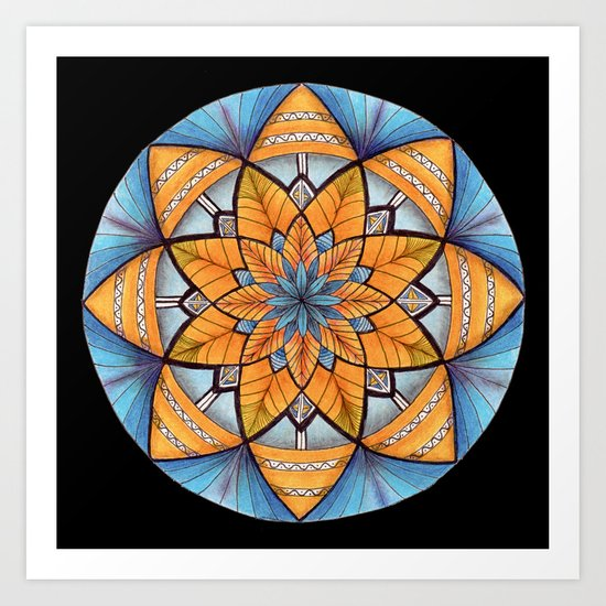 Sapphire-Gold Mandala (on black) by katealli