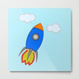 Cartoon Rocket And Clouds Metal Print