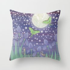 Moonlit stars, luna moths, snails, & irises Throw Pillow