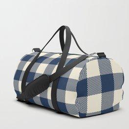 Buffalo Plaid Rustic Lumberjack Blue and White Check Pattern Duffle Bag