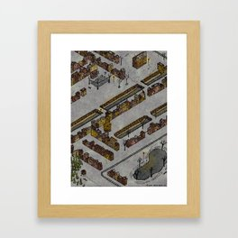 Wintery Town Framed Art Print