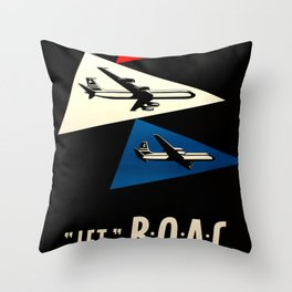 Jet BOAC volate dalla svizerra nel mondo Travel Poster Throw Pillow