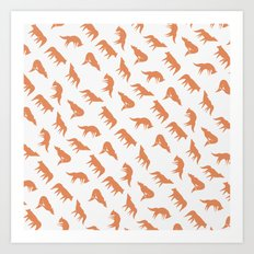 wild wolves pattern Art Print