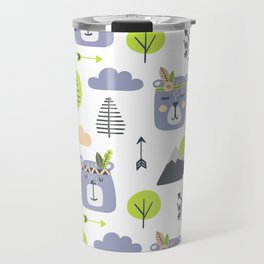 Cute Mountains Bears and Trees Happy Campers Children Pattern Travel Mug