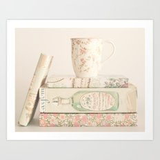 Soft Pastel Books and coffee, shabby chic Art Print