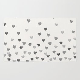 BLACK WATERCOLOR HEARTS Rug