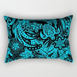 Hawaiian - Samoan - Polynesian Teal Tribal Threads Rectangular Pillow
