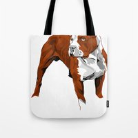 pitbull Tote Bags featuring Pitbull by Styleuniversal