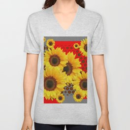 RED-YELLOW SUNFLOWERS GREY ABSTRACT Unisex V-Neck