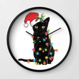 Santa Black Cat Tangled Up In Lights Christmas Santa T-Shirt Wall Clock