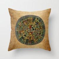 calendar Throw Pillows featuring Ancient Calendar by Klara Acel