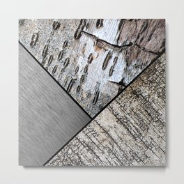 Birch Bark and Digital Brushed Silver Metal Metal Print