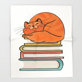 With Books And Cats Life Is Sweet Throw Blanket