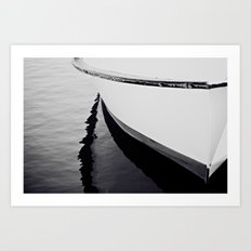 Reflections Black and White Nautical Boat Art Print
