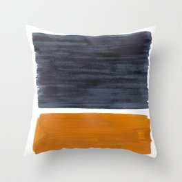 Minimalist Mid Century Modern Colorful Color Field Rothko Navy Blue Yellow Ochre Throw Pillow
