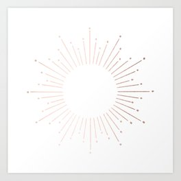 Sunburst Moon Dust Bronze on White Art Print
