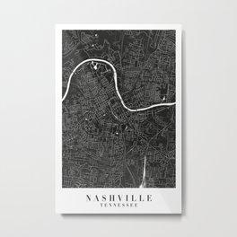 Nashville Tennessee Minimal Black Mono Street Map  Metal Print