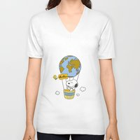 snoopy V-neck T-shirts featuring ADVENTUROUS SNOOPY by Yildiray Atas