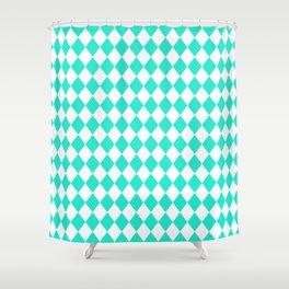 Aqua Gift Box Modern Diamond Pattern Shower Curtain