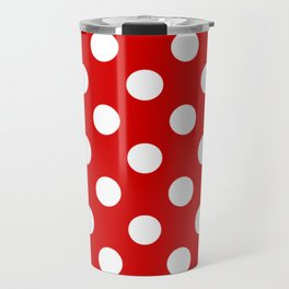 Rosso corsa - red - White Polka Dots - Pois Pattern Travel Mug